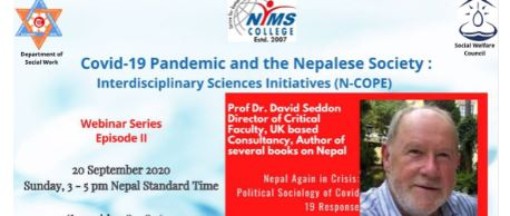 NIMS Colleges, Social Welfare Council and TU, Social Work Department Jointly Announce Interdisciplinary Webinar Series on Understanding the Impact of the Pandemic